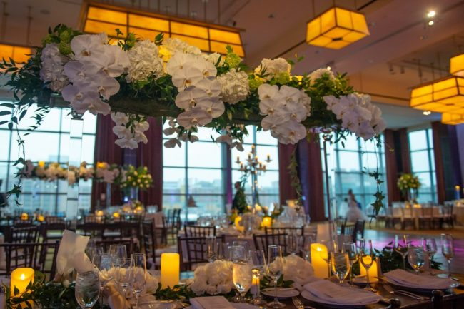 white ballroom wedding